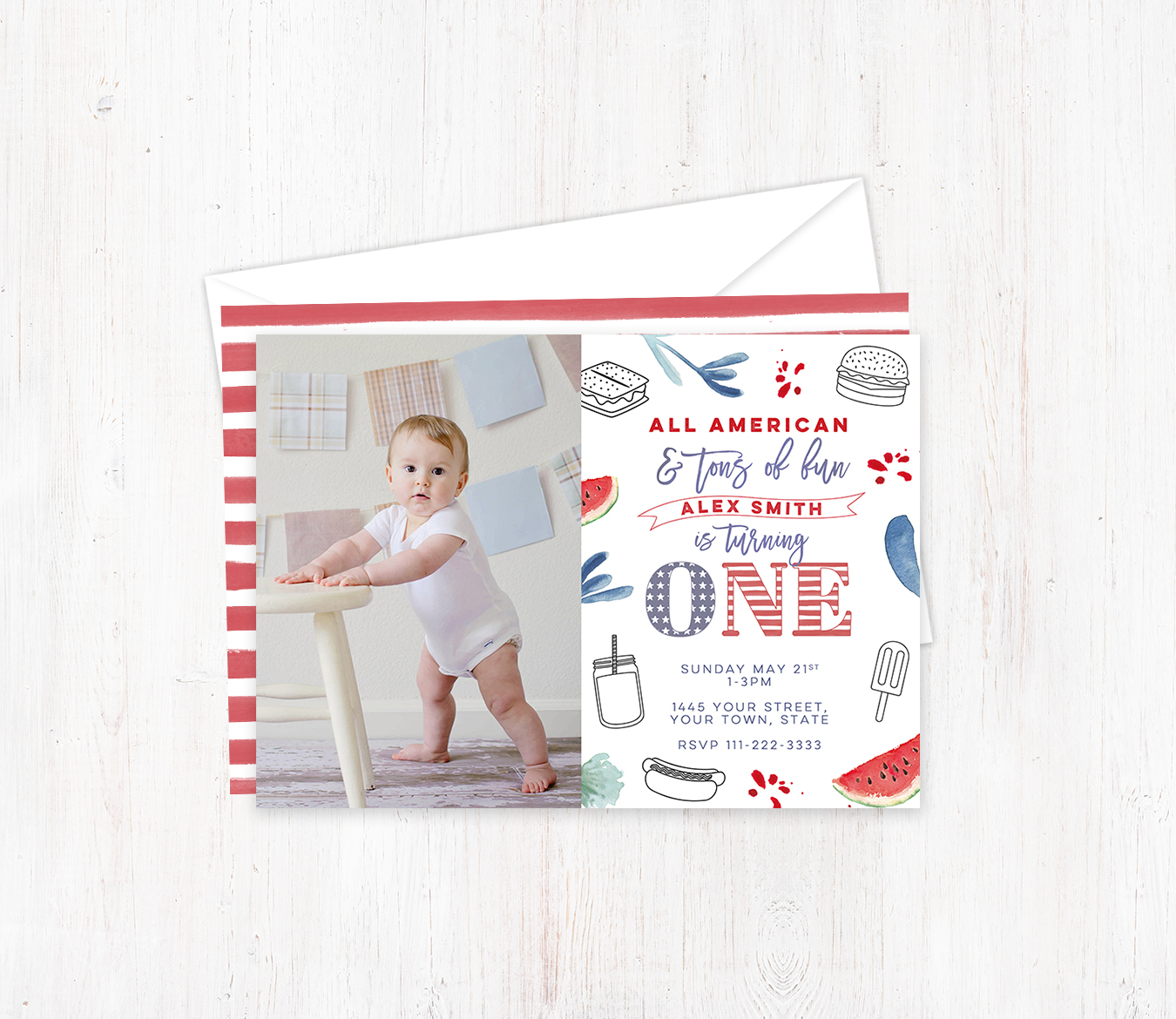 America boy 1st Birthday Invitations - Dulce Grace