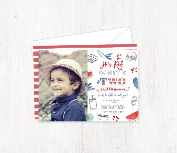 2nd Birthday Red White and Blue invitations