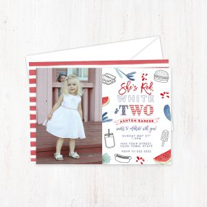 Red White and Two 2nd Birthday Invite Card for Girl