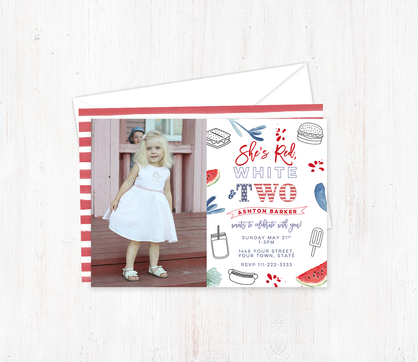 Red White And Two 2nd Birthday Invitations For Girl