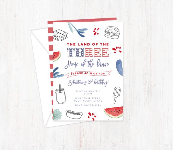 3rd Birthday Stars and Stripes invite