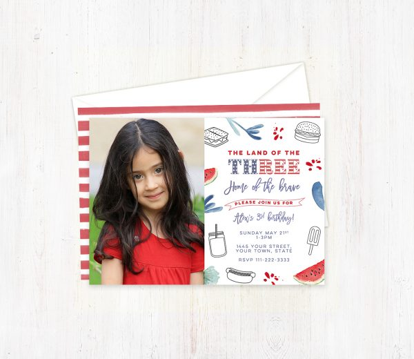 Land of the Free (Three) 3rd Birthday Photo Invitations for Girl
