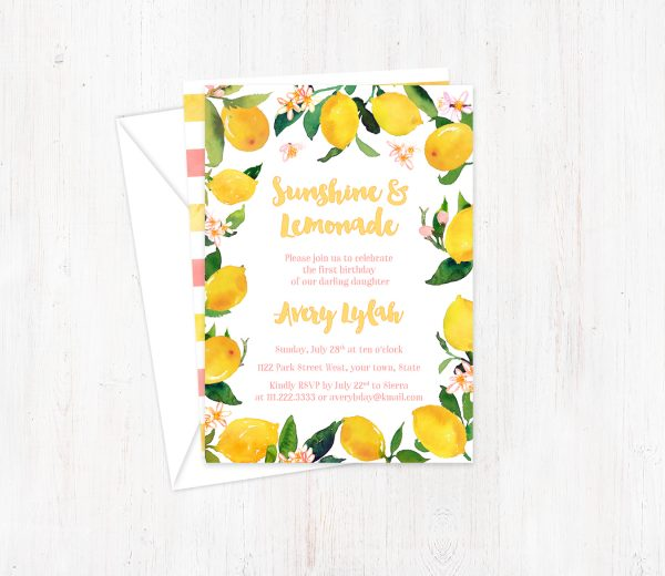 Yellow and Pink Sunshine Lemons Invitations