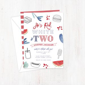 Patriotic 2nd birthday invite cards