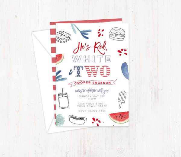 Patriotic 2nd birthday invite cards