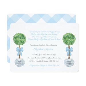 Preppy Baby Boy Box Lollipop Topiary Baby Shower Invitations