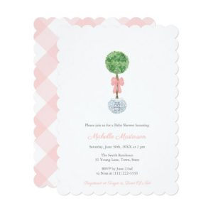 Preppy Baby Shower Invitation Cards For Little Girl