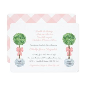 Preppy Box Ball Twin Girls Baby Shower Invite Cards