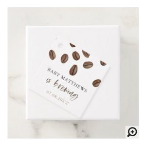 Coffee Beans A Baby Is Brewing Baby Shower Favor Tags