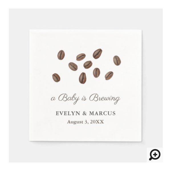 Watercolor Coffee Beans A Baby Is Brewing Napkins