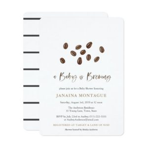 A Baby Is Brewing Coffee Beans Co-Ed Baby Shower Invitation