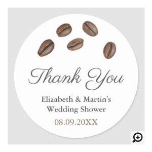 Circle Thank You Favor Stickers With Coffee Bean Design