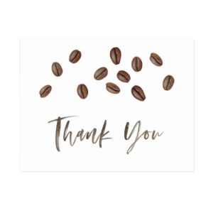Coffee Beans Theme Thank You Postcard or flat notecard