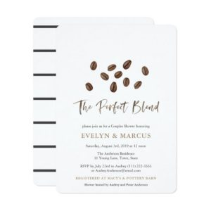 The Perfect Blend Coffee Theme Couples Bridal Shower Invitations