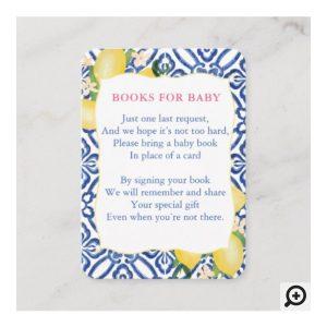 Amalfi Lemons Blue Tiles Books For Baby Shower Insert Card