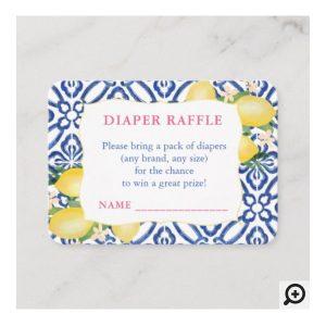 Positano Lemons Azulejos Pattern Diaper Raffle Insert Card