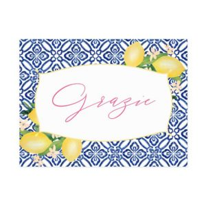 Positano Lemons Blue Tiles Grazie Thank You Card