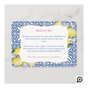 Watercolor Lemons Vintage Italian Blue And White Tiles Registry Card