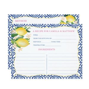 Double-sided recipe card with blue and white tiles and watercolor lemons