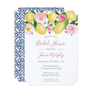 Watercolor Lemons Pink Floral Bridal Shower Invitations With Blue Tiles Reverse