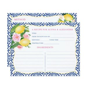 Italian Blue And White Tiles Recipe Cards With Lemons And Pink Accents
