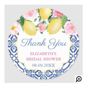 Thank You Round Favor Sticker For Italian Lemons Shower