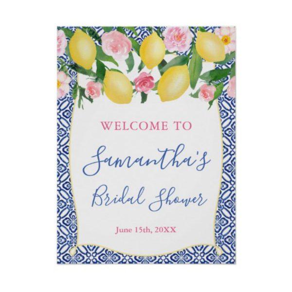 Amalfi Lemons Bridal Or Baby Shower Welcome Poster